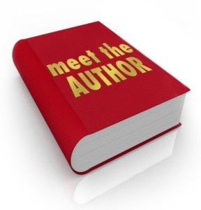 Meet the Author words on a red book cover to advertise a reading by your favorite writer or novelist at a library or store