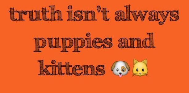 Sometimes the truth isn't always puppies and kittens