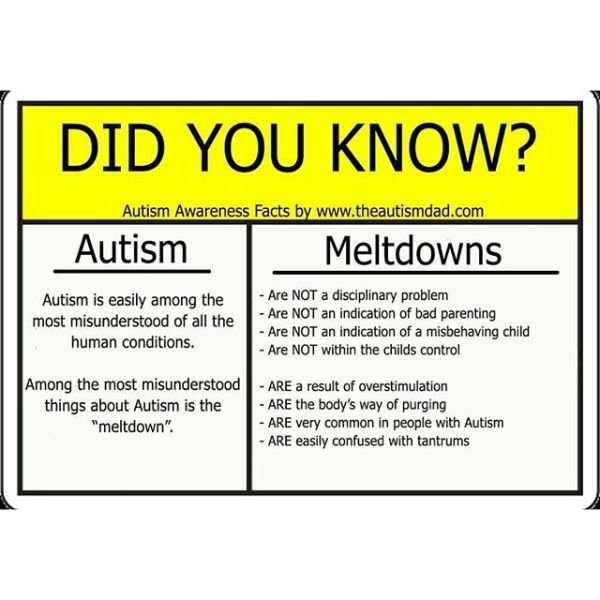 Important facts about Autism and Meltdowns. PLEASE share this now
