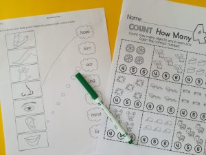 Pre School worksheets, Teacch at home