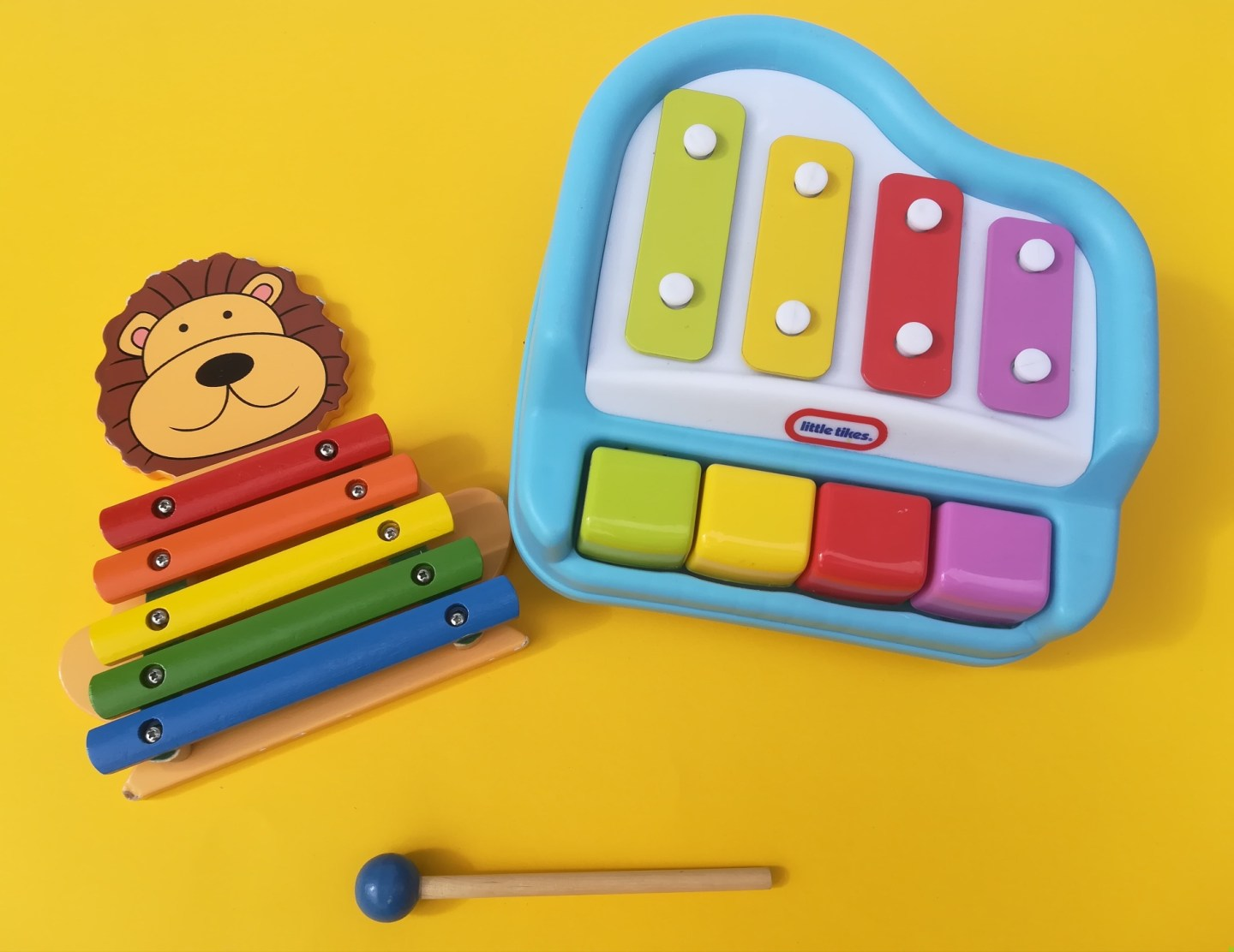 Music and autism, toy piano, wooden lion xylophone