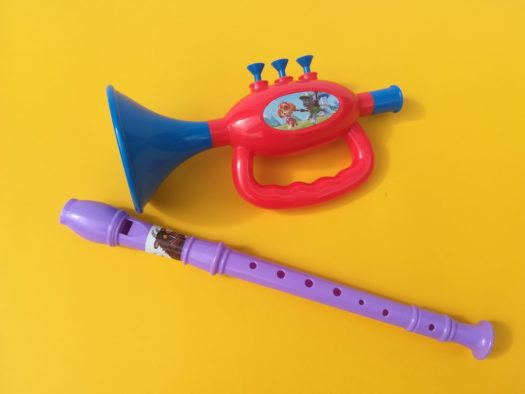 Music and autism, child's trumpet and recorder