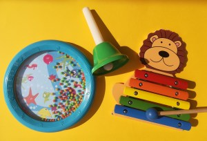 Music and autism, shaker, bell, lion xylophone