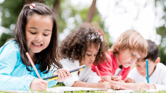 kids writing together