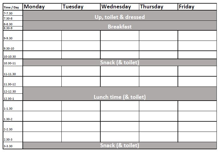 Black Timetable for lockdown with the kids