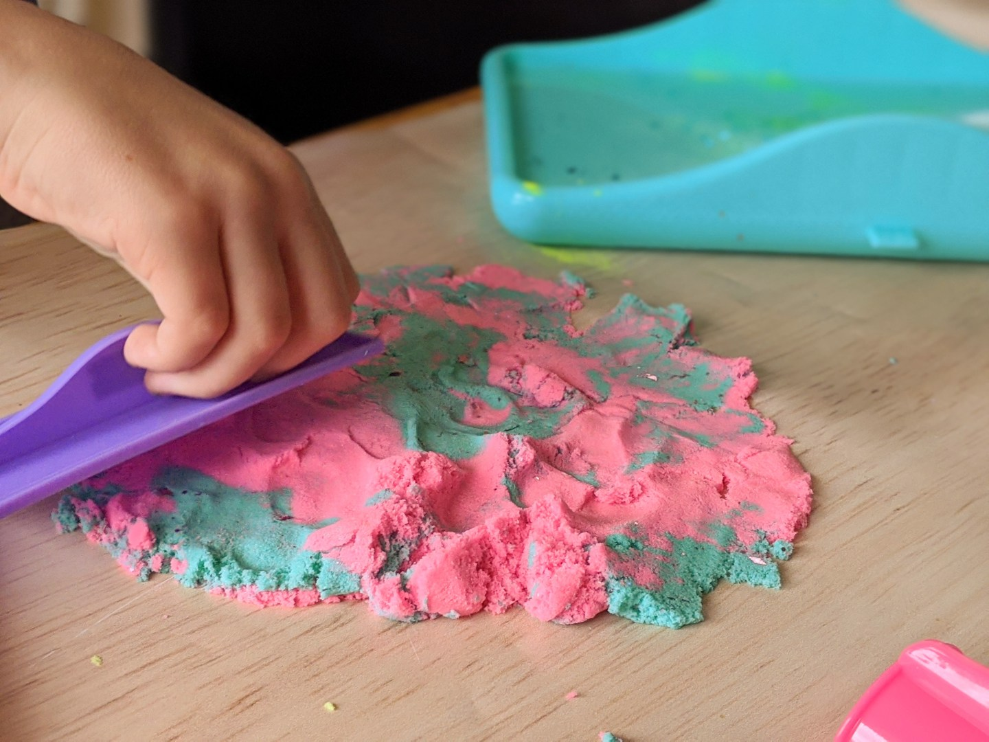 messy play with sand