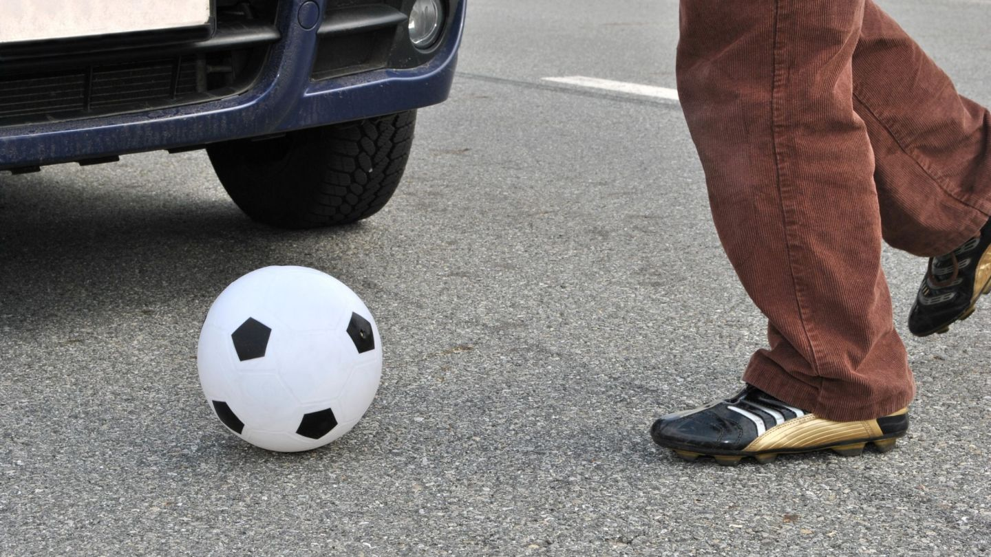 ball in front of car