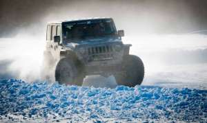 One of the Wranglers tackles the ice race (slalom) going a bit wide on a corner.