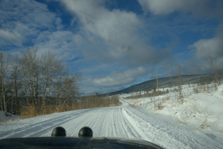 """A view from """"our office"""" for 2 days while running a winter rally."""