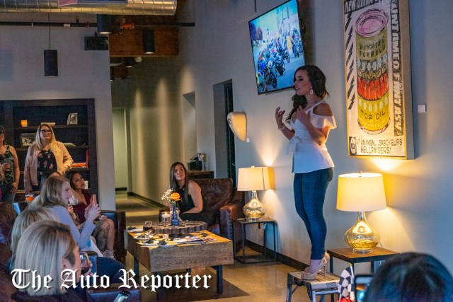 Jamei June speaks to the crowd during the Beauty & Key's launch at The Shop - The Auto Reporter