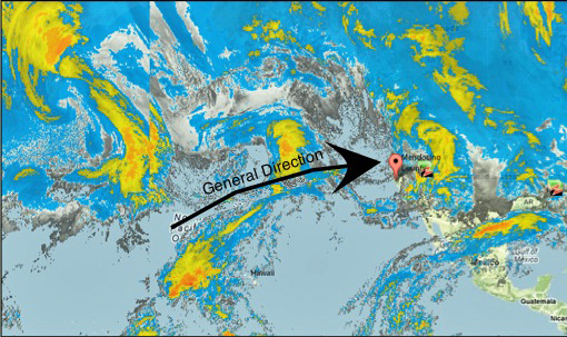 Satellite image of Northern Pacific Ocean about 9pm Sunday night