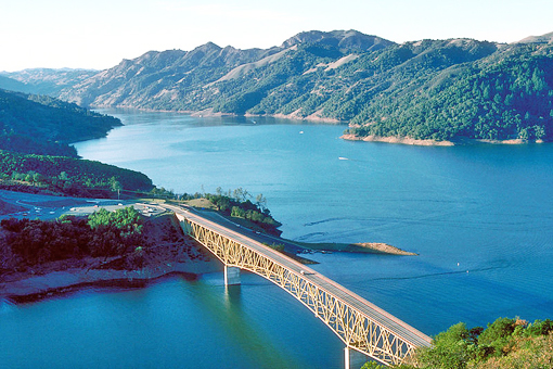 Lake Sonoma, at its usual capacity, looking northwest to Mendocino County