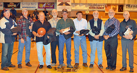 The 1966 AV Panthers, probably Boonville's best team ever (L to R: Eugene Waggoner. Rick Cupples, Charlie Hiatt, Larry Banks, Dave Pronsolino, Ron Pronsolino, Tom Rawles, Dan Huey and Gary Bates.)