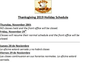 Thanksgiving 2019 Schedule