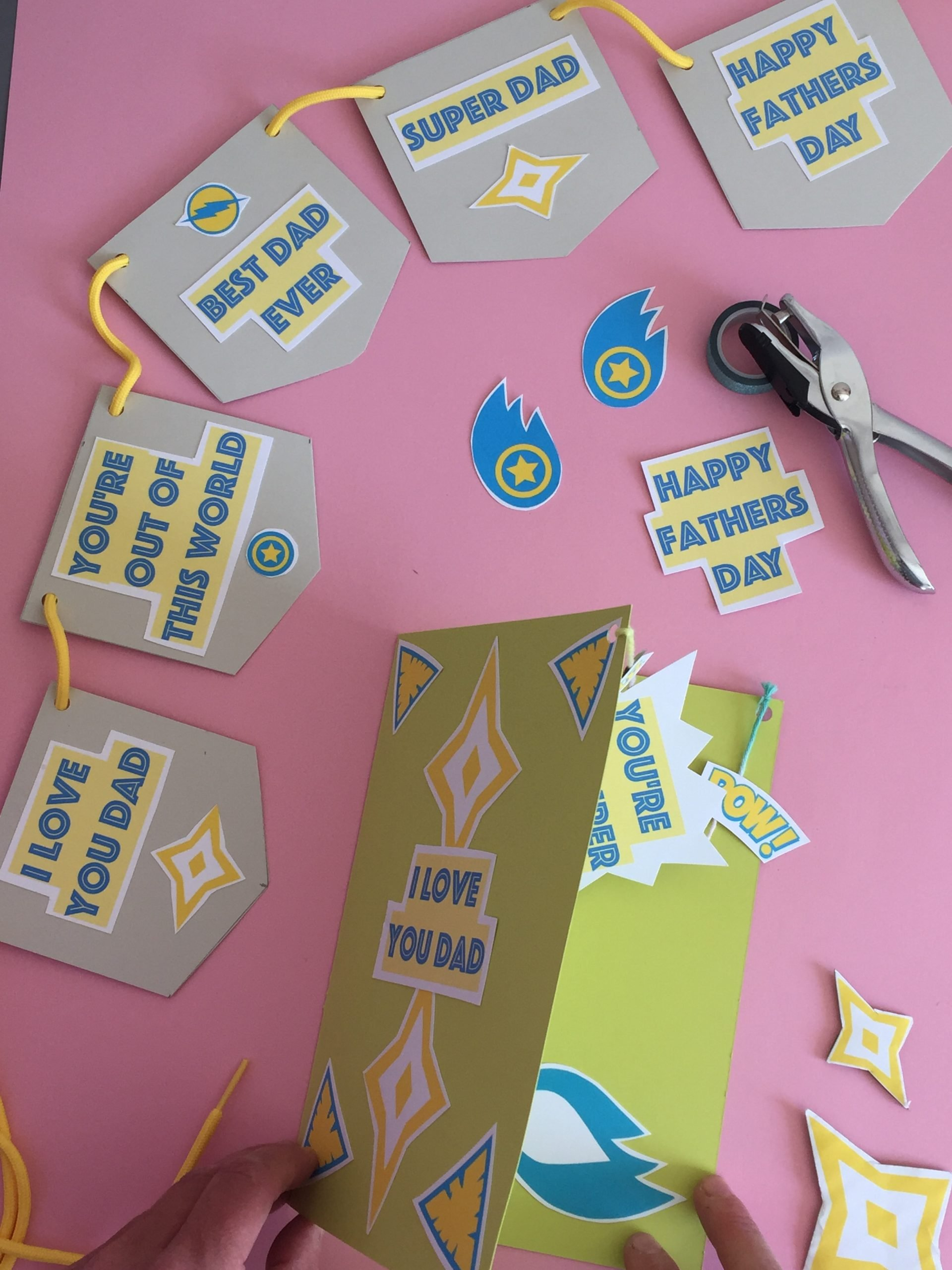 Homemade fathers day card & bunting + Free Printable
