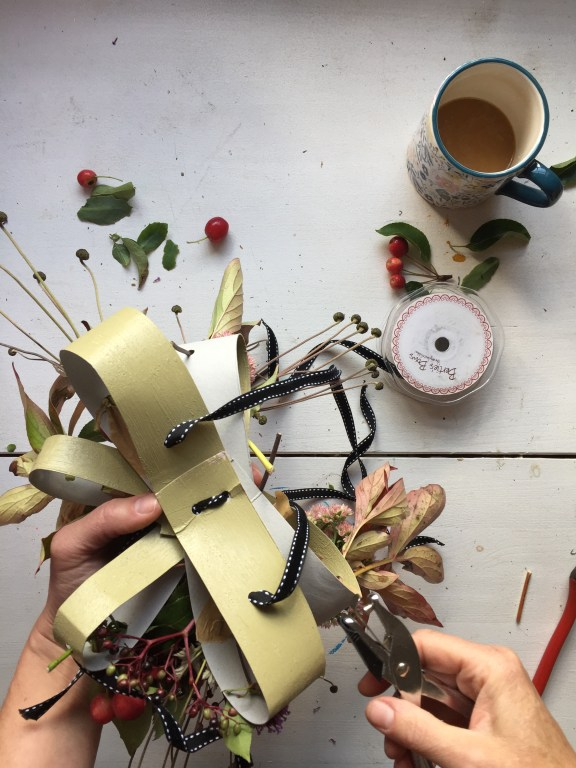 add velvet ribbon to the base of your autumn fascinator adult diy craft