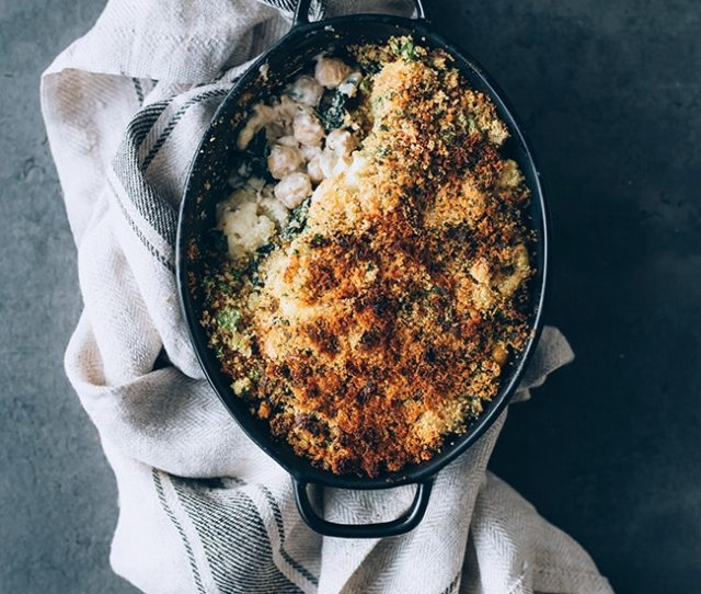 Loaded Cauliflower Casserole With Kale And Chickpeas