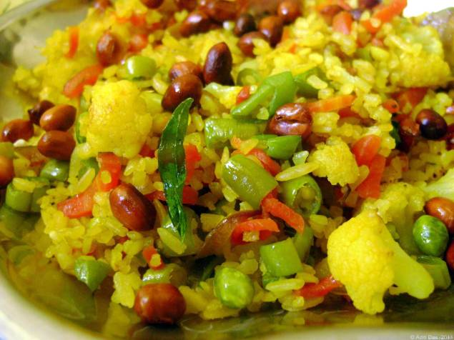 Vegetable poha for snack