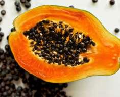 ripe papaya with seeds