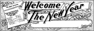 new year welcome b & w