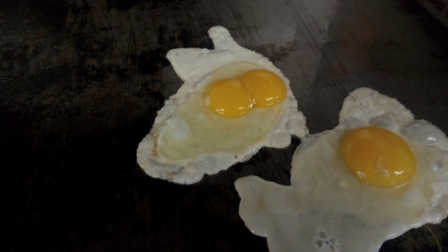 double yolk egg on the grill