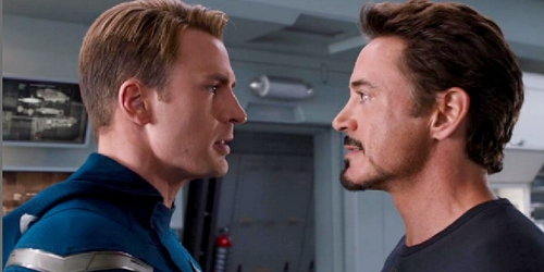 Tony and Steve arguing.