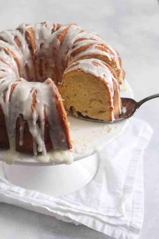 Cream Cheese Pound Cake with Vanilla Bean Glaze
