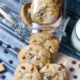 Dark Chocolate Caramel Espresso Cookies