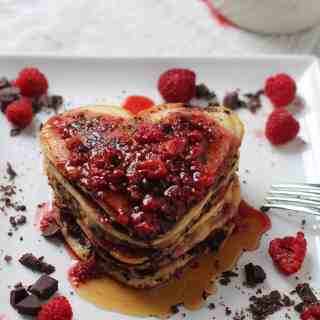 Dark Chocolate Raspberry Pancakes