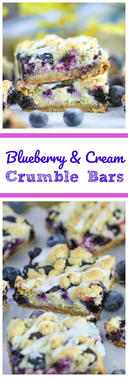 Blueberry & Cream Crumble Bars - Blueberries and cream cheese make these crumble bars burst with flavor in your mouth! Highly addictive!  #blueberries #crumble #bars #blueberries and cream #fruit #baking