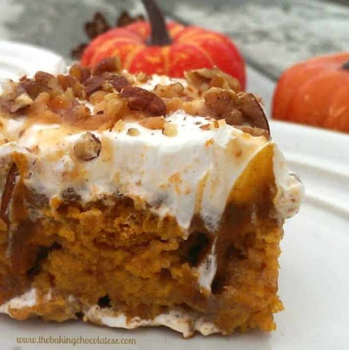Pumpkin Butter Pecan Poke Cake! It's Insane!