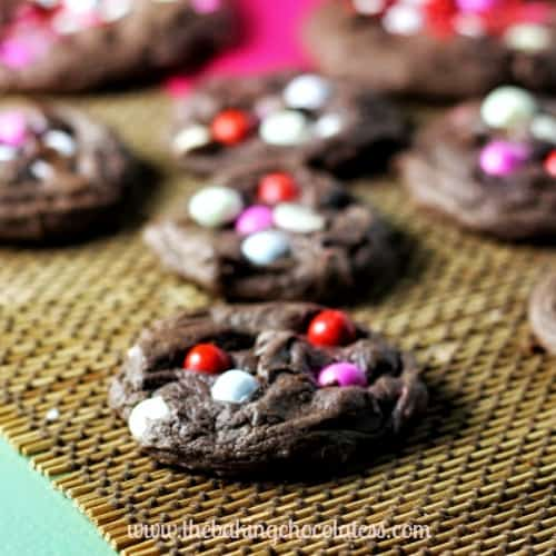 Sixlets & Chocolate Chip Fudge Cake Mix Cookies