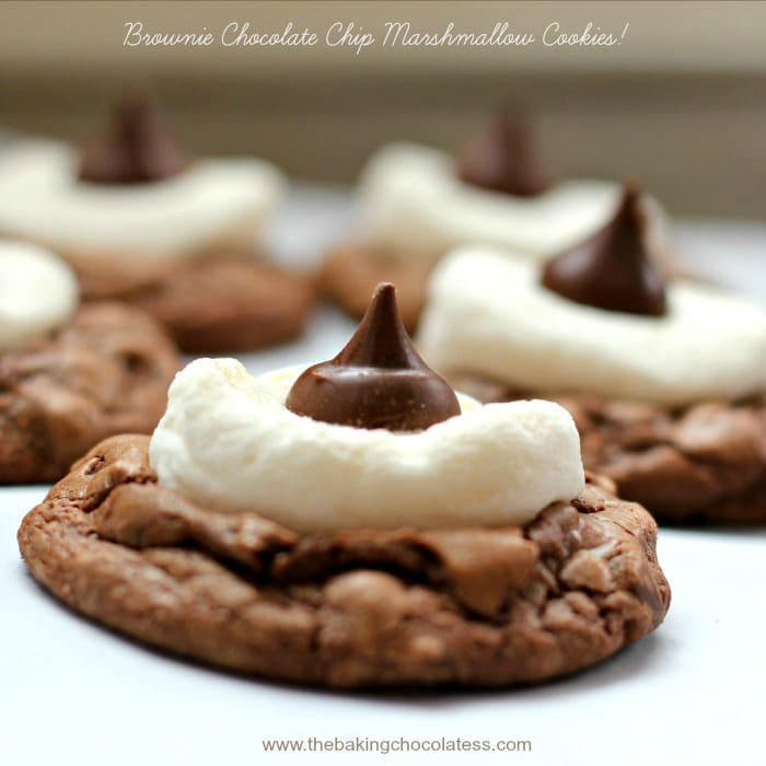 'Hubba-Hubba' Brownie Chocolate Chip Marshmallow Cookies! {2 ways - Stuffed or Topped}
