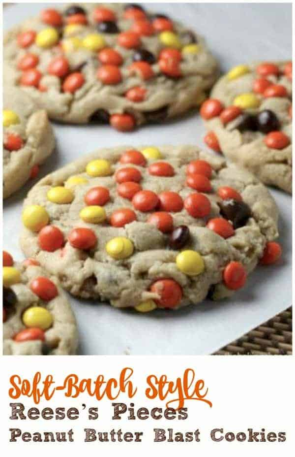 Soft-Batch Style Reese's Pieces Peanut Butter Blast Cookies - Reese's Piece's are overloaded in these 'huge' ultimate soft-batch Peanut Butter Cookies, blasting with extreme peanut butter and chocolate flava! #peanut butter #reeses #candy #chocolate #candy coated #cookies #halloween #fall #baking #chocolate chip #soft batch