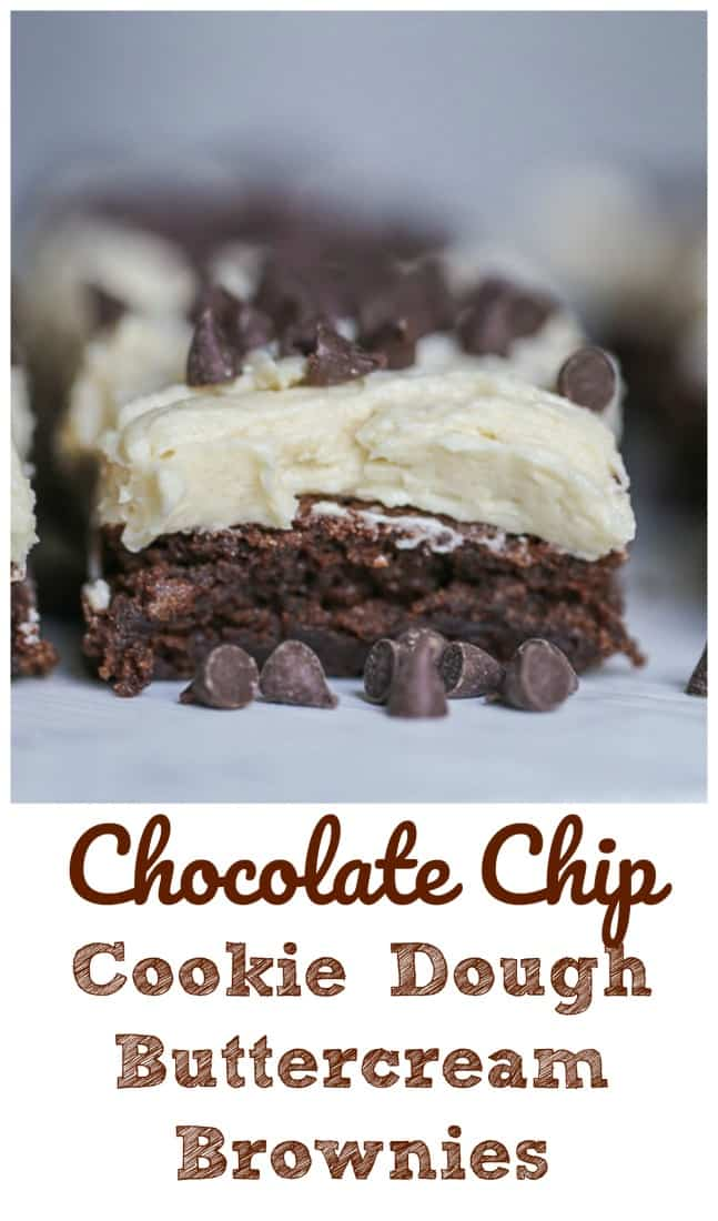 Cookie Dough Buttercream Frosted Brownies - Thick, rich chewy brownies frosted with a light, buttery, creamy cookie dough buttercream frosting adorned with chocolate chips. Hallelujah!  #cookie dough #brownies #chocolate chip #buttercream #addictive #baking #chocolate