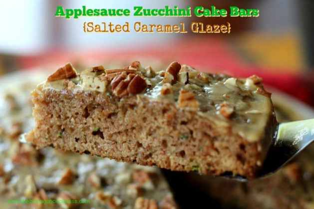 Applesauce Zucchini Cake Bars {Salted Caramel Glaze}