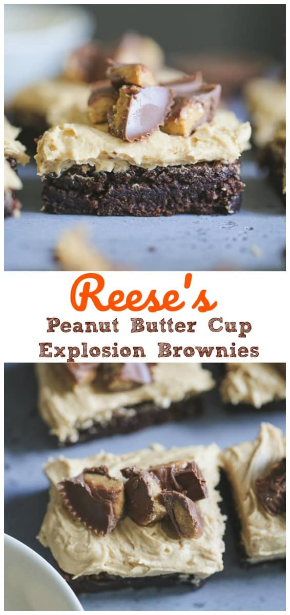 Reese's Peanut Butter Cup Explosion Brownies - Self Explanatory and addicting as hell!  #peanut butter #reeses #peanut butter cups #brownies #peanut and chocolate #baking