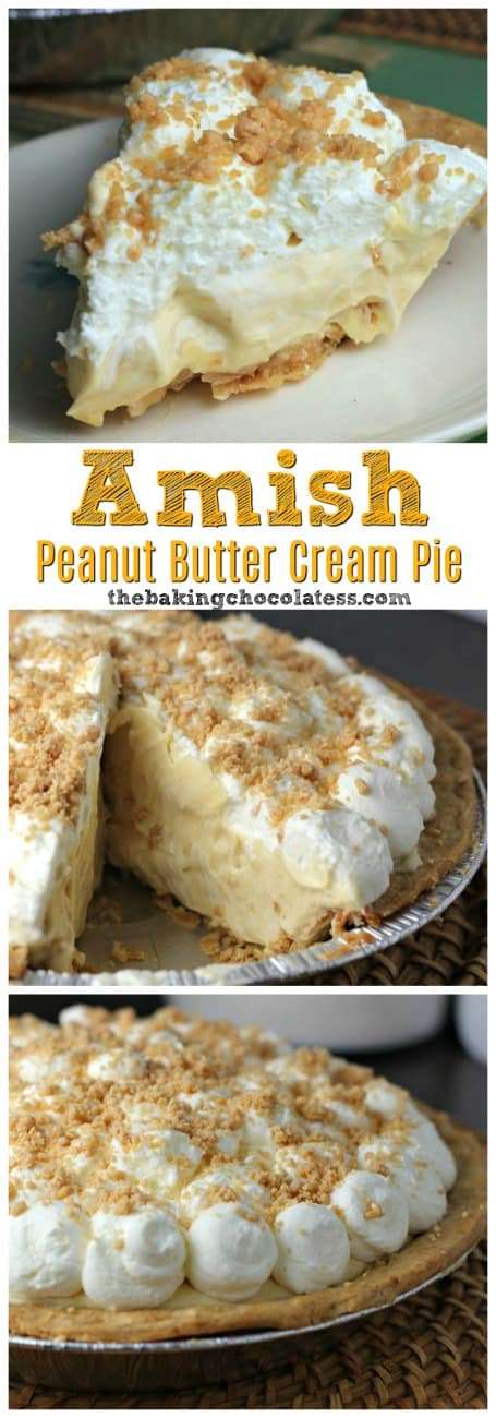 Amish Peanut Butter Cream Pie - Amish' is referred to as being plain, but there is nothing 'plain' about this creamy, dreamy Amish Peanut Butter Cream Pie! Perfectly delectable! #peanutbutter #amish #pie #peanutbutterpie