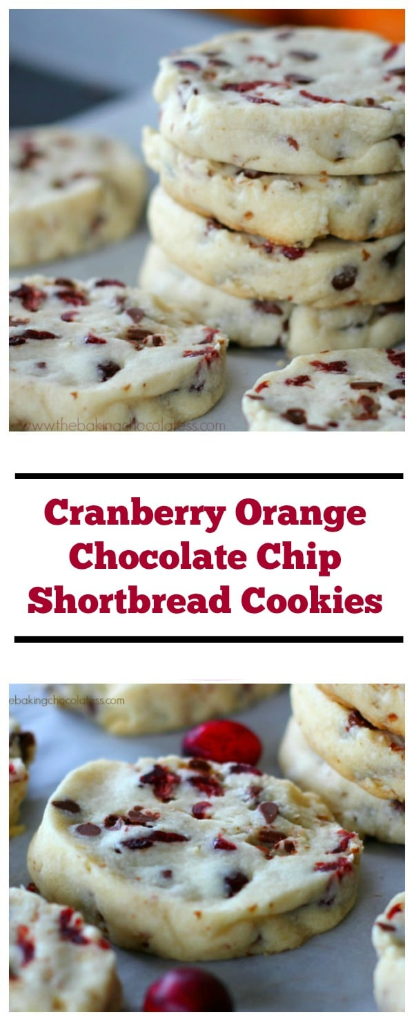 If you love rich, buttery cookies, you really need to give these Holiday Cranberry Orange Chocolate Chip Shortbread Cookies a try.  Maybe you could even leave one, or two for Santa?  (Nahhhh!)