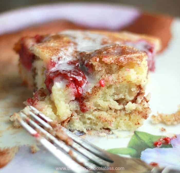 Lush Raspberry Cinnamon Swirl Coffee Cake
