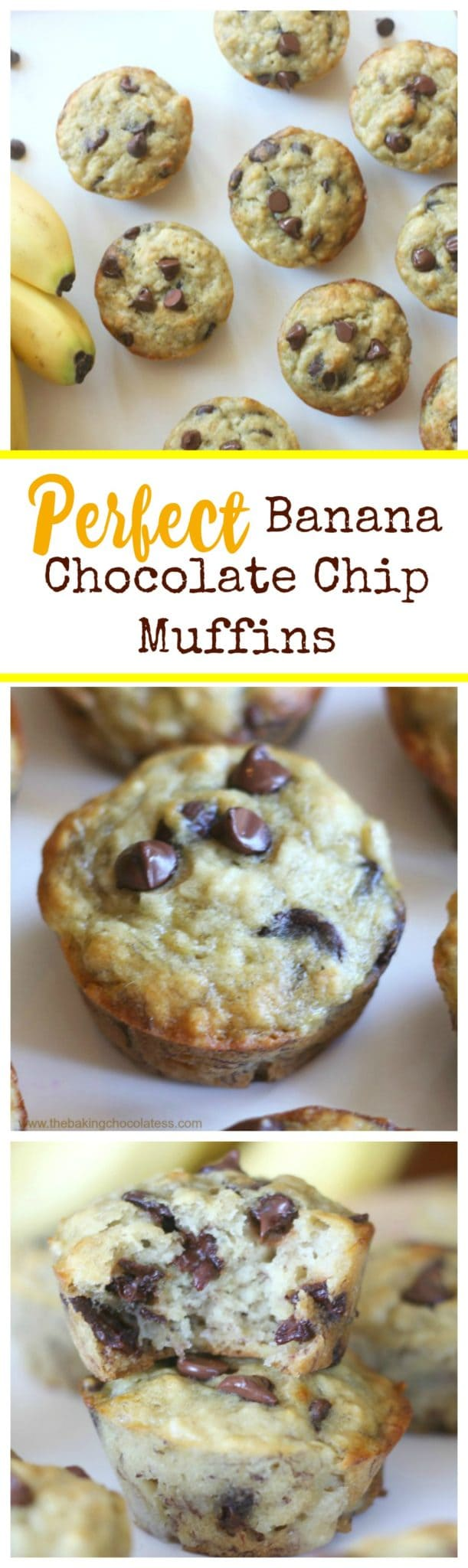 Perfect Banana Chocolate Chip Muffins  - It's such a simple recipe with just the right balance of banana and chocolate. Mix 'em up and bake for 20 minutes. They're super fluffy, moist and Perfect-O!  #banana #chocolate chip #muffins #snack