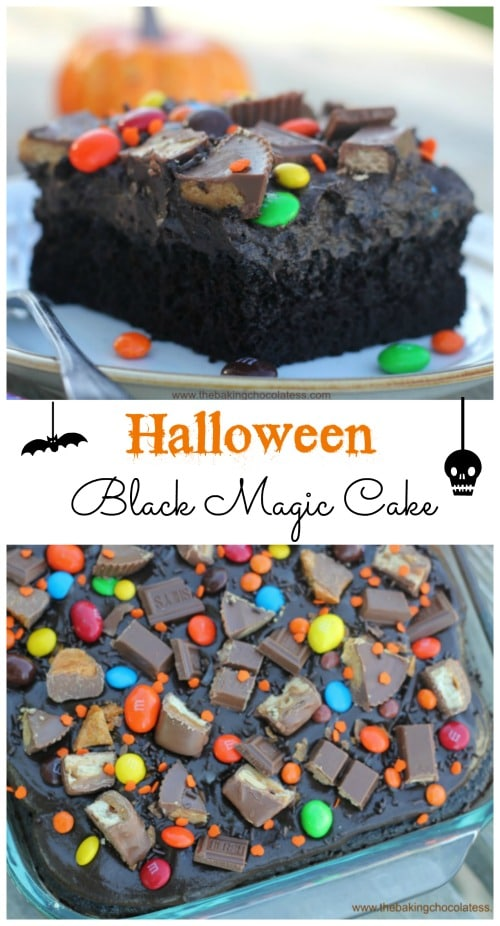 Halloween Black Magic Candy Cake is such a fun cake for the kids to help bling out with candy galore. You'll have a spooktacular Halloween with this Halloween Black Magic Candy Cake!  The ultra-dark, ultra moist cake is to die for! Muahahaha!