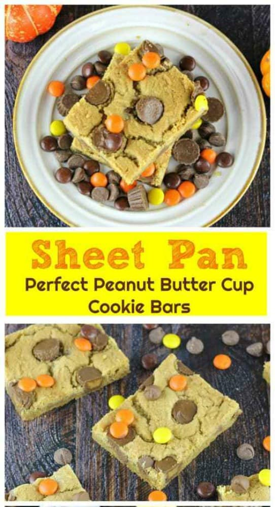 Sheet Pan Perfect Peanut Butter Cup Cookie Bars - So moist and chewy, these delicious peanut butter cookie bars are filled with Reese's Mini Peanut Butter Cups and Ghirardelli Milk Chocolate Chips and some Reese's Pieces for a splash of fall color. Woo-wee! #reeses #peanut butter #ghirardelli #milk chocolate #bars #chocolate chips #sheet pan #cookies