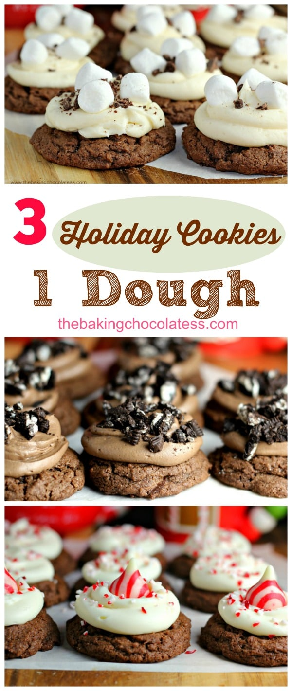 1 Dough - Three Kinds of Chocolate Cookies for the Holidays! Chewy, double chocolate cookies infused with dark cocoa and dark chocolate chips that are amazing! Everyone loves these! Serve plain or make up to 3 kinds of Christmas cookie ideas too!  #cookies #holiday #baking