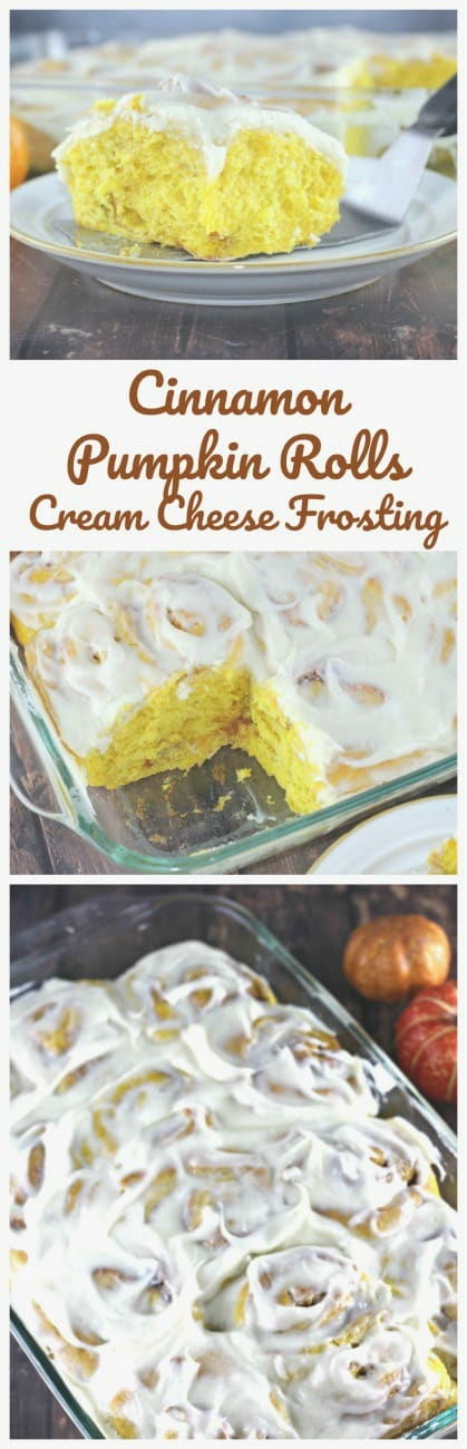 Cinnamon Pumpkin Rolls with Cream Cheese Frosting - Simply irresistible!  You won't be able to resist these delectable pumpkin rolls, swirled with pumpkin cinnamon filling and cinnamon cream cheese frosting!