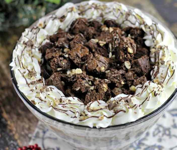 Milk Chocolate Hazelnut Brownie Mousse Trifle