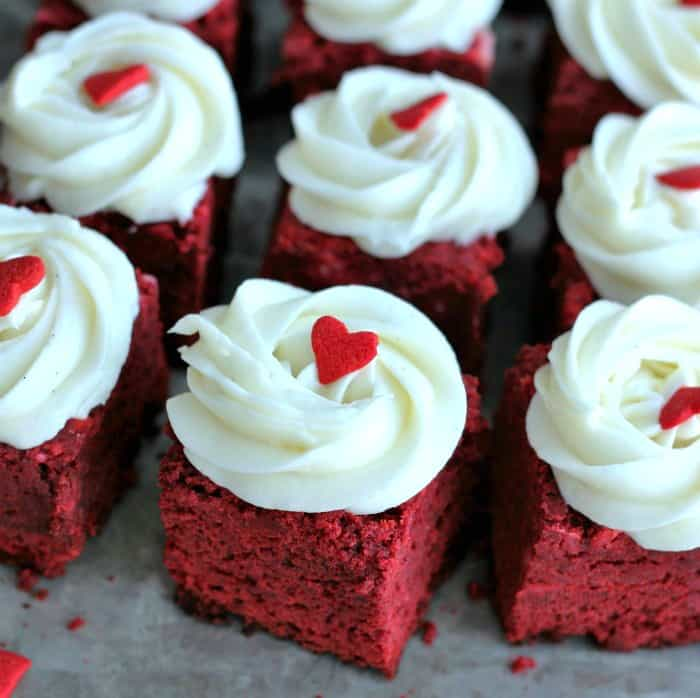 Mini Red Velvet Brownies with Vanilla Bean Cream Cheese Frosting
