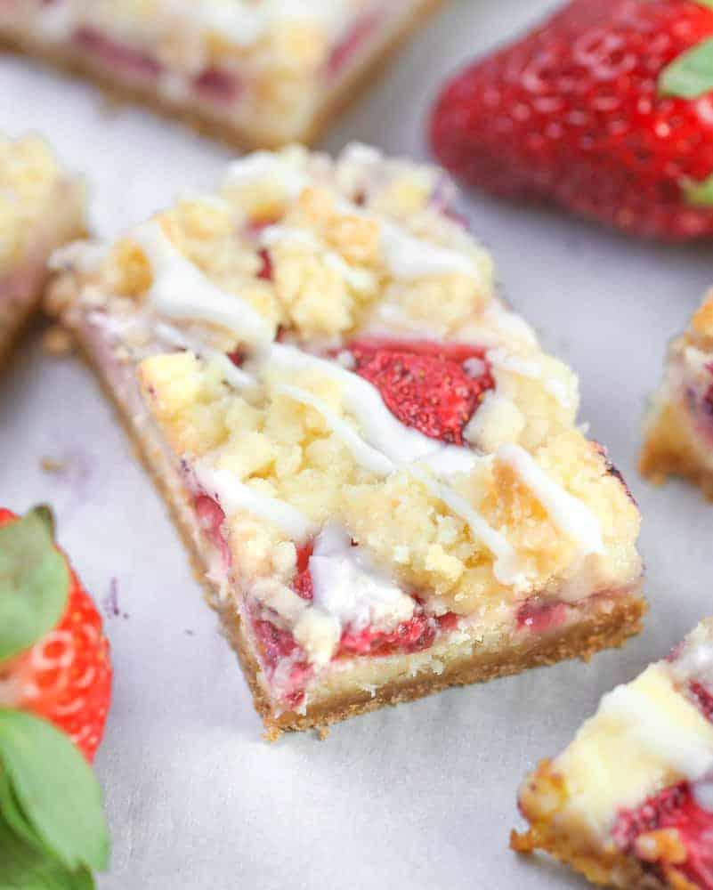 Strawberry Cream Cheese Crumble Bars