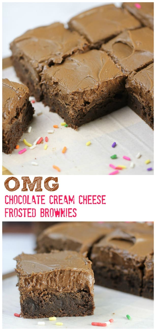 OMG! Chocolate Cream Cheese Frosted Brownies - OMG! Chocolate Cream Cheese Frosted Brownies make everyone happy.  Celebrate with your favorite sprinkles and dive in!  #brownies #creamcheese #frosting #dessert #chocolate #baking #treats