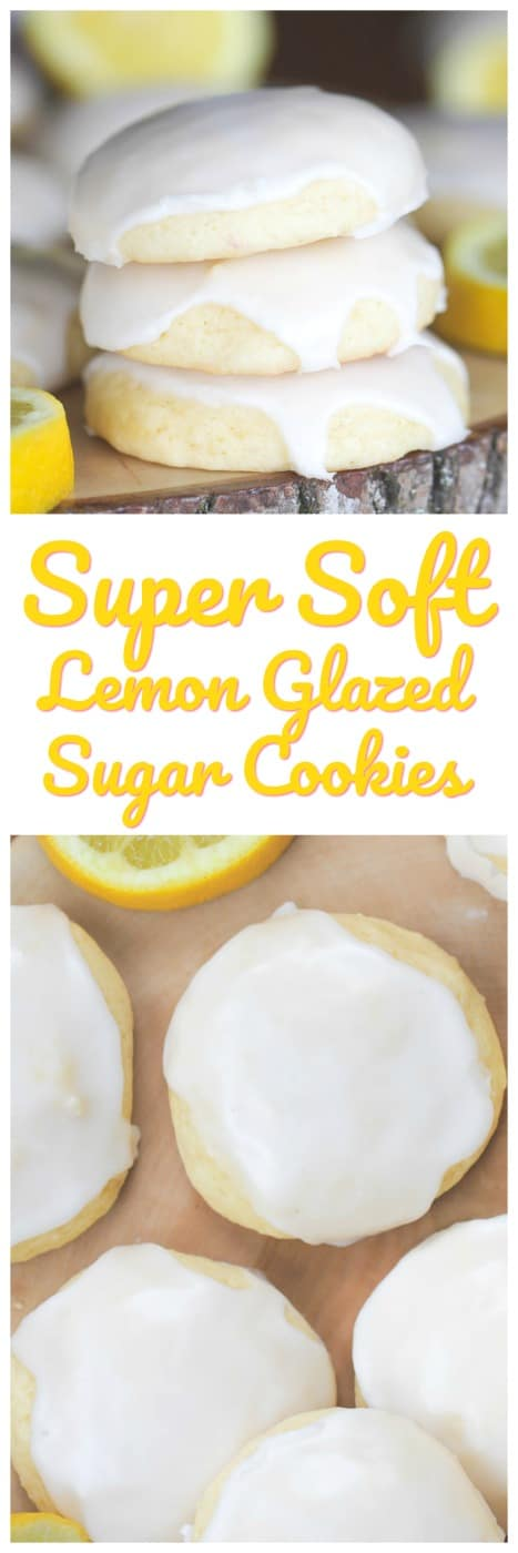 Super Soft Lemon Glazed Sugar Cookies - These delectable lemon glazed sugar cookies are super soft, thick and bursting with sweet and tangy lemon flavor. #lemon #soft #cookies #glazed #cookies #baking